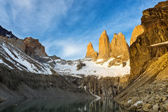 Torres del Paine at sunrise. The Torres del Paine at sunrise Royalty Free Stock Photography