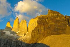 Torres del Paine sunrise light at the mountains in Patagonia