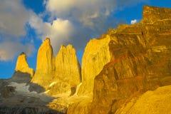 Torres del Paine at sunrise light Stock Image