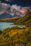 Torres Del Paine at sunrise Stock Photos