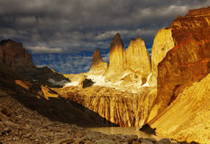 Torres del paine at sunrise Royalty Free Stock Photography