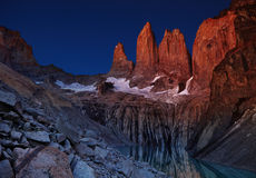 Torres del paine before sunrise Stock Images