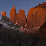 Torres del paine towers at sunrise. Torres del paine national park, chile Stock Photography