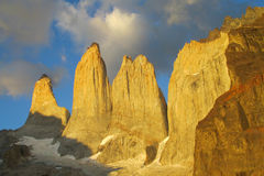 Torres del Paine towers at sunrise Royalty Free Stock Photos
