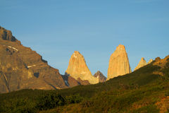Torres del Paine towers at sunrise Stock Photo