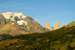 Torres del Paine towers view from O-circuit Stock Photo