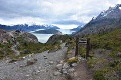 Torres del Paine Trail Grey Glacier Royalty-vrije Stock Afbeeldingen