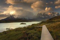 Torres del Paine, vista da Explora Immagini Stock
