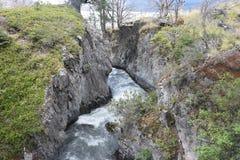 Torres Del Paine Wlec wąwozu popielaty lodowiec Zdjęcie Stock