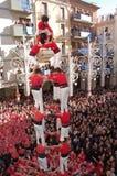Torres del ser humano de Castellers Foto de archivo libre de regalías