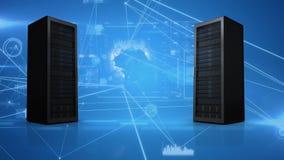 Torres del servidor que se mueven contra un fondo azul con las conexiones ligeras stock de ilustración
