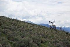 Torres do bonde para a mina branca do botão fotos de stock
