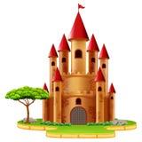 Torres do castelo com árvore ilustração stock