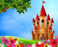 Torres do castelo no campo ilustração stock