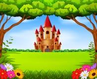 Torres do castelo no cenário do campo ilustração stock