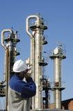 Torres do trabalhador e do petróleo fotos de stock