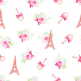 Torres Eiffel lindas y modelo inconsútil floral del vector de las llaves Fotografía de archivo libre de regalías