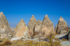 Torres espetaculares da rocha de Cappadocia Foto de Stock