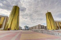 Torres gêmeas no distrito governamental, Astana Fotografia de Stock