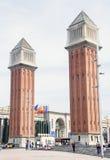 Torres gemelas del cuadrado de España Fotografía de archivo libre de regalías