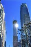 Torres grandes Pekín China del World Trade Center Z15 Sun de los rascacielos Foto de archivo