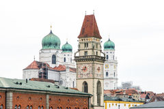 Torres históricas de Passau Fotos de archivo libres de regalías