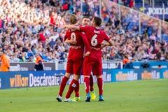 Torres l, Gabi c et Koke r célèbrent un but à la correspondance de Liga de La entre Espanyol et Atletico De Madrid photo stock