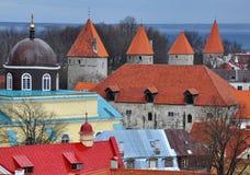 4 torres na cidade de Tallinn Imagem de Stock