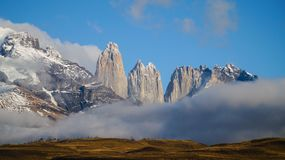 The Torres Peaks in Torres del Paine, Patagonia, Chile.  stock photos