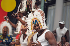 Torres Strait Islands Dancers. Smiling aboriginal male dancer from the Wagga Torres Strait Islands Dance Group, performing a traditional dance in Brisbane, 7 Stock Photography