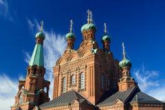 Torres superiores de la iglesia ortodoxa de Tampere Imagen de archivo