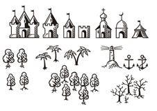 Torres y árboles Fotos de archivo