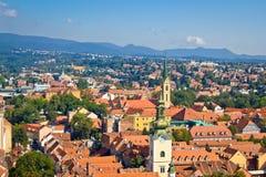 Torres y tejados de Zagreb foto de archivo libre de regalías