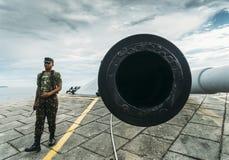 Torreta marinha de em seguida 90mm no forte de Copacabana, Brasil Foto de Stock Royalty Free