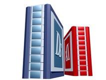 Torretta blu e rossa del calcolatore Fotografia Stock
