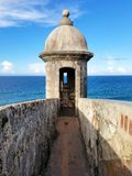 Torretta a Castillo San Cristobal a San Juan, Porto Rico Fotografia Stock Libera da Diritti