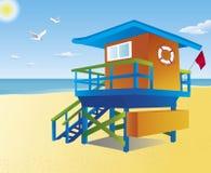 Torretta del bagnino su una spiaggia Fotografia Stock