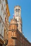 Torretta del campanile a Bruges Fotografia Stock Libera da Diritti