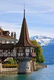 Torretta del castello di Oberhofen Immagini Stock Libere da Diritti