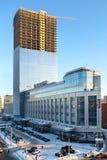Torretta del centro di affari in costruzione Fotografia Stock