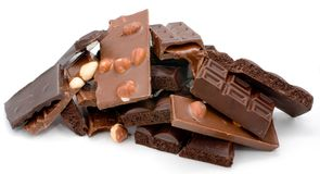 Torretta del cioccolato su priorità bassa bianca Fotografia Stock Libera da Diritti