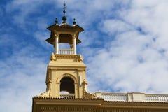 Torretta del monumento di Montjuic Fotografia Stock Libera da Diritti