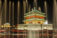 Torretta del Xian Bell alla notte Fotografie Stock Libere da Diritti