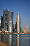 Torretta dell'ufficio di Doha, da Jean Nouvel, a Doha, il Qatar Immagini Stock