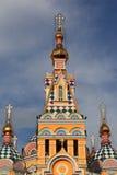 Torretta della cattedrale di ascensione a Almaty fotografia stock libera da diritti