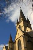 Torretta della chiesa evangelica Sibiu Immagine Stock Libera da Diritti