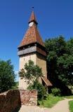 Torretta della fortezza di Biertan in Transylvania Fotografie Stock