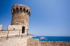 Torretta della fortezza in Tossa de marzo Fotografia Stock