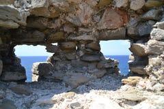 Torretta della vigilanza, castello di Methoni Immagini Stock
