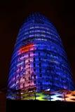 Torretta di Barcellona Agbar di notte Fotografie Stock